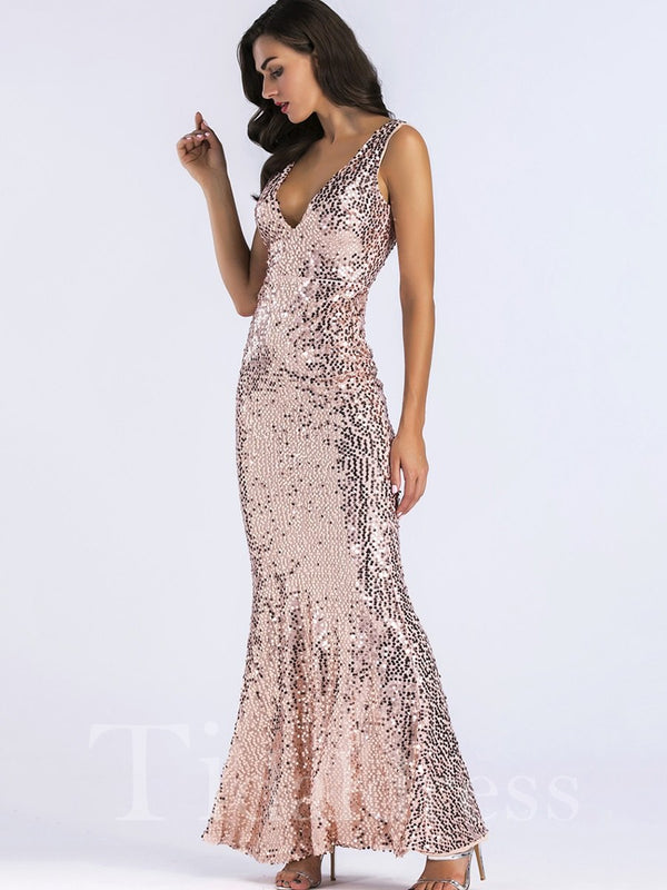 Sequins Pullover V-Neck Sleeveless Mermaid Dress