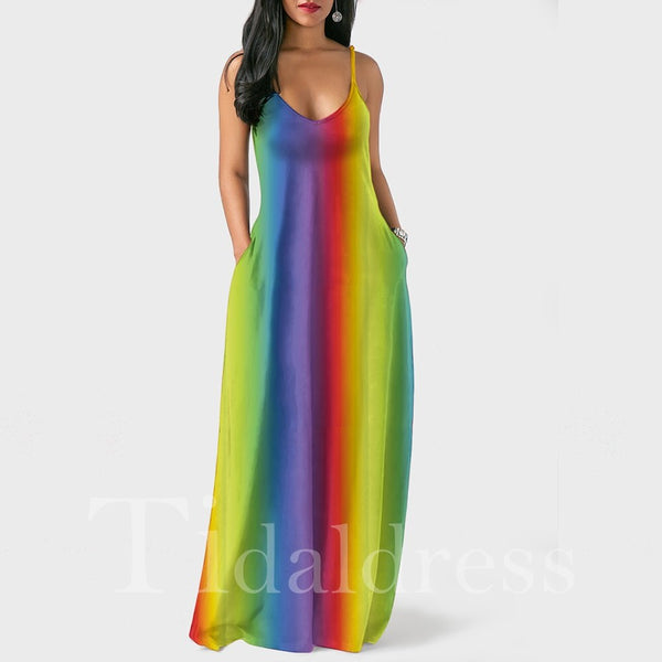 Rainbow Tie-Dyed Sleeveless Bohemia Style Maxi Dress