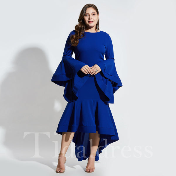 Asymmetric Flare Sleeve Mermaid Round Neck Pullover Dress