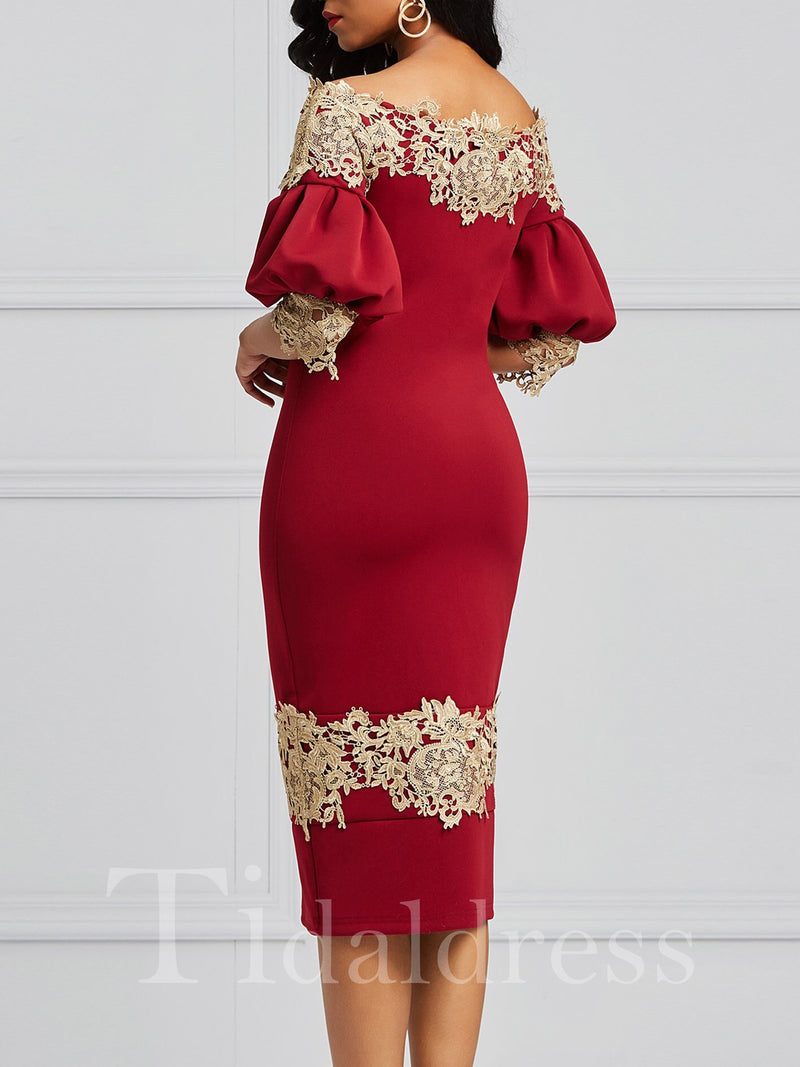 Luxury Off the Shoulder Puff Sleeve Bodycon Dress