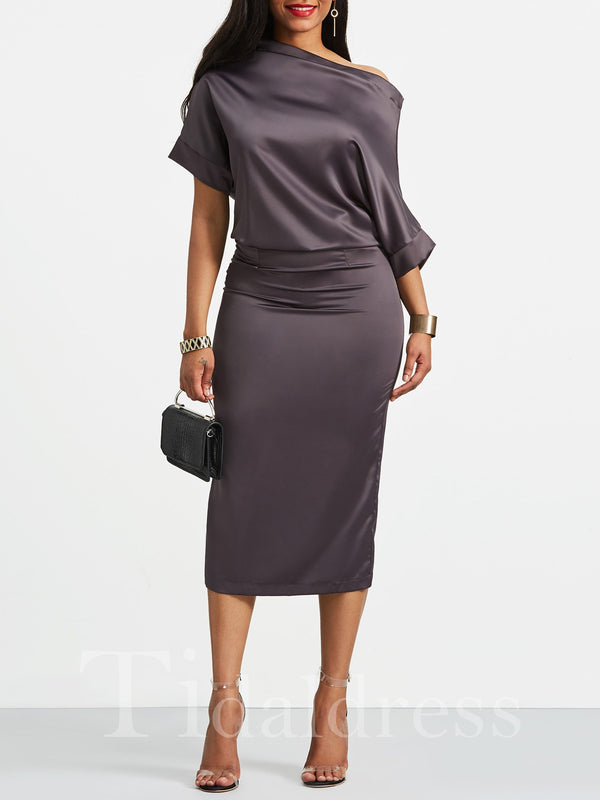 Oblique Collar Plain Pleated Women's Bodycon Dress