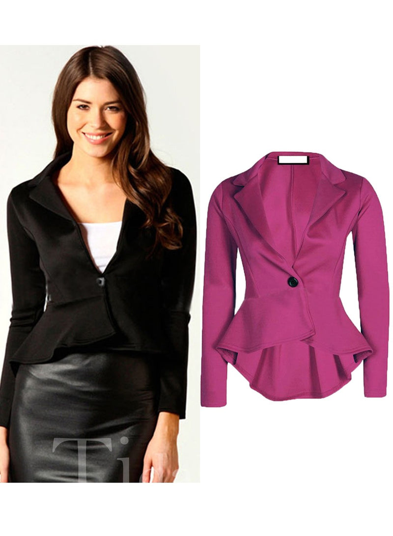 Short Slim Model Lapel Plain One Button Blazer