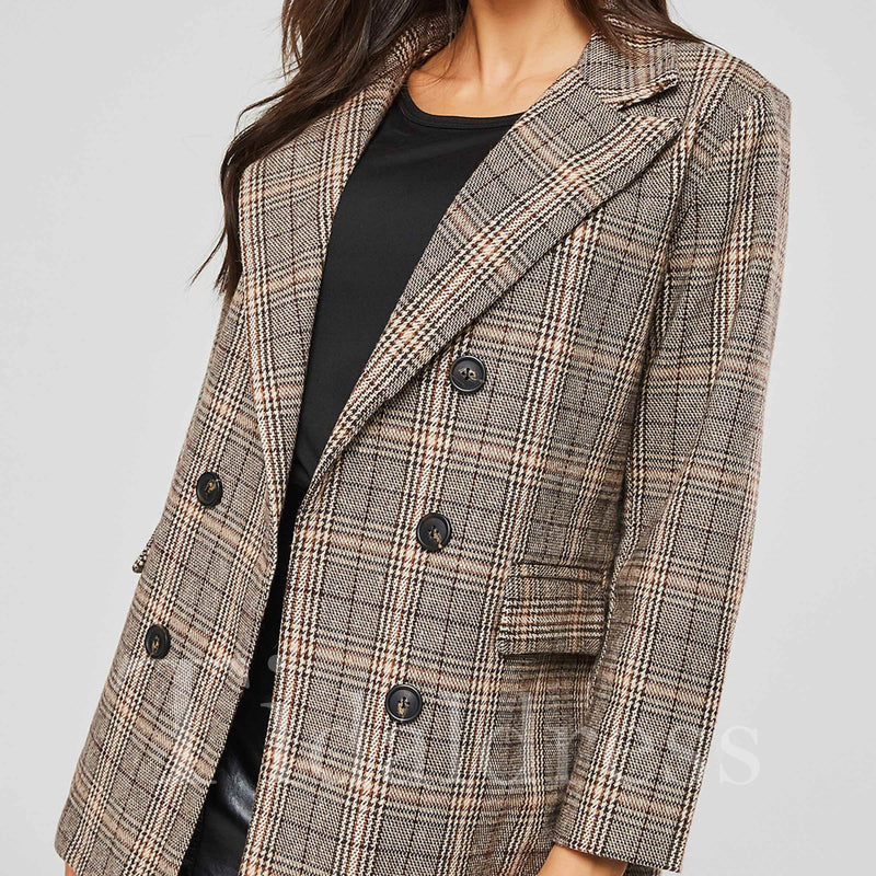 OL Gingham Plaid Double-Breasted Women's Blazer