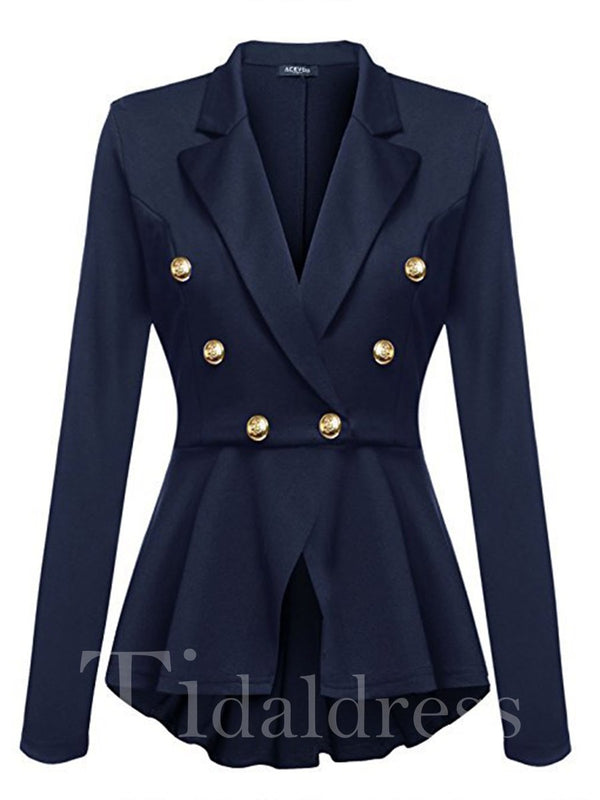 Solid Color Button Decoration Mid-Length Women's Blazer
