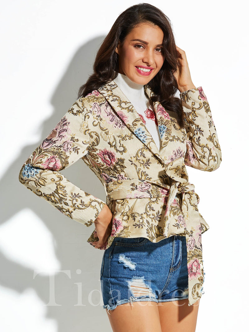 Shawl Collar Flower Print Women's Coat