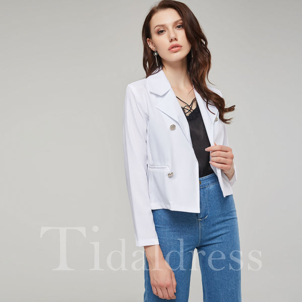 Double-Breasted Long Sleeve Plain Slim Model Blazer
