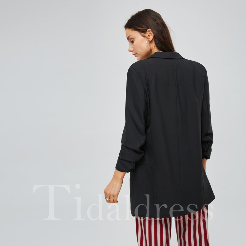 Loose Fit Double Pocket Open Front Women's Blazer