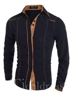 Slim Model Polyester Single-Breasted Lapel Men's Shirt