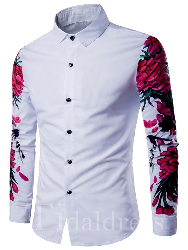 Slim Model Lapel Long Sleeve Men's Shirt