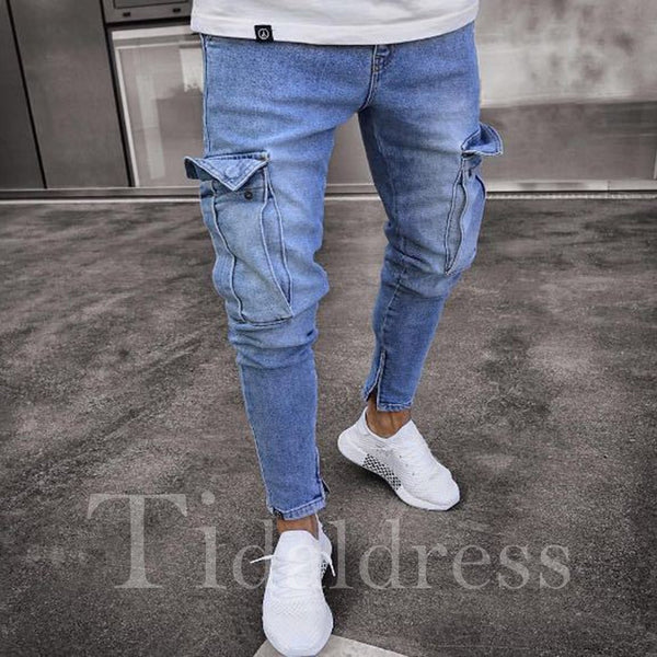 European Zipper Slim Plain Mid-Waist Men's Pencil Jean