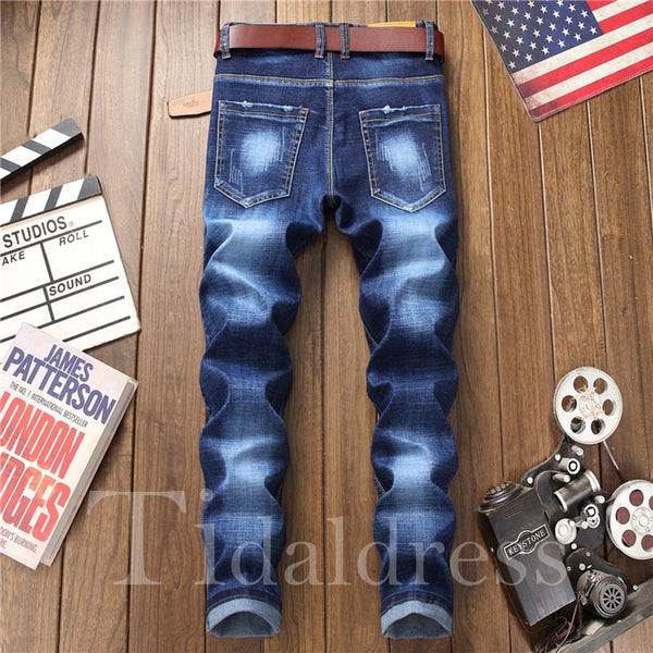Floral Embroidery Straight Men's Casual Jeans