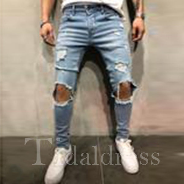 European Style Worn Hole Men's Jeans