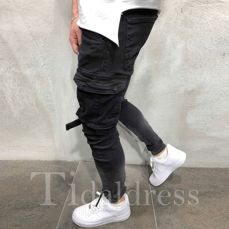 European Slim Zipper Mid-Waist Worn Men's Pencil Jean