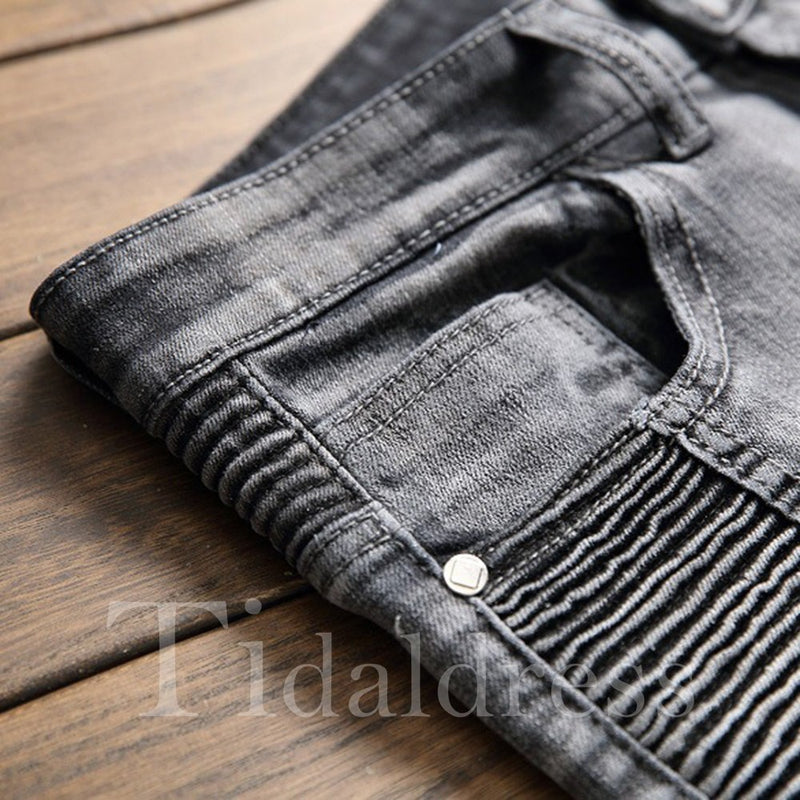 Worn Zipper Pleated Straight Men's Jean