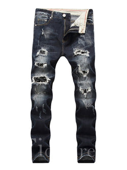 Worn Pocket Patchwork Men's Jeans