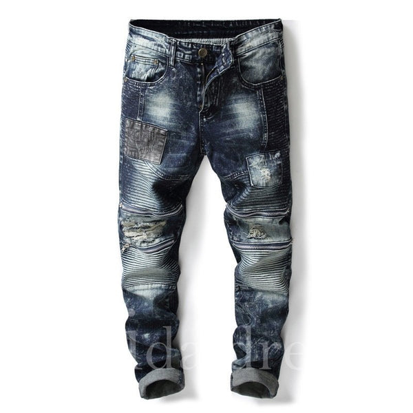 Denim Blue Color Block Straight Men's Ripped Jeans