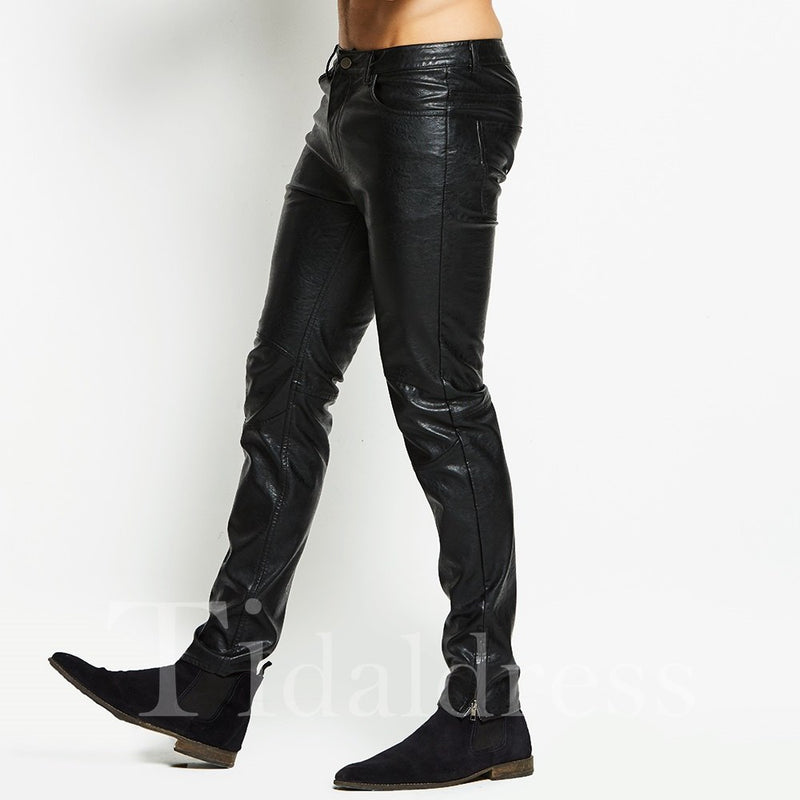 Motor Style Solid Color Men's PU Pants