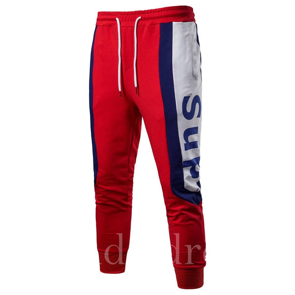 Color Block Letter Print Patchwork Mens Casual Sports Pants