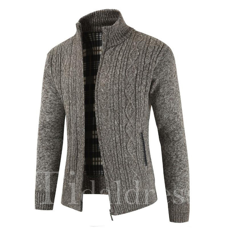 Korean Style Slim Zipper Plain Men's Sweater