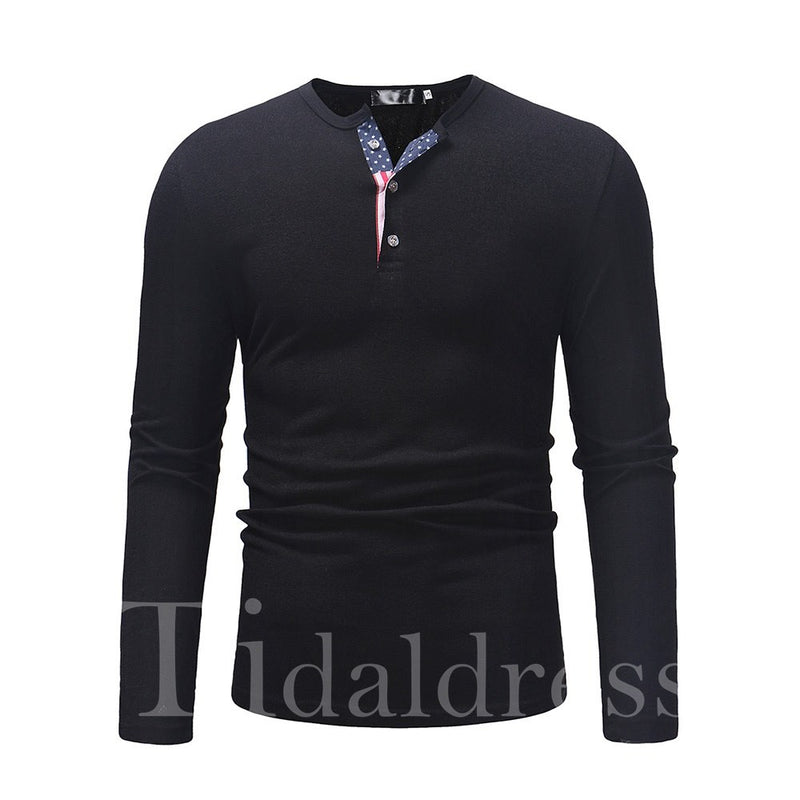 Plain Long Sleeve Men's Casual Pullover Sweater