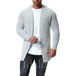 Men's No Button Pure Color Knitted Sweater