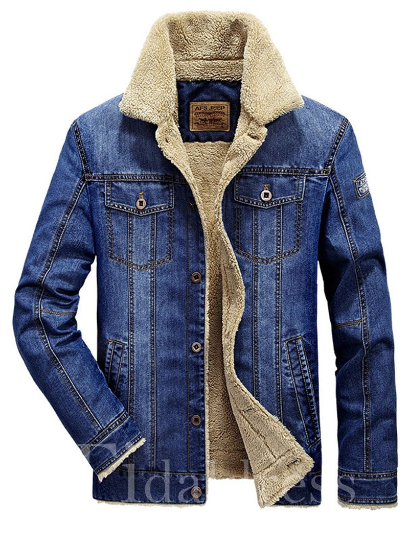 Plain Loose Single-Breasted Lapel Thick Men's Jacket