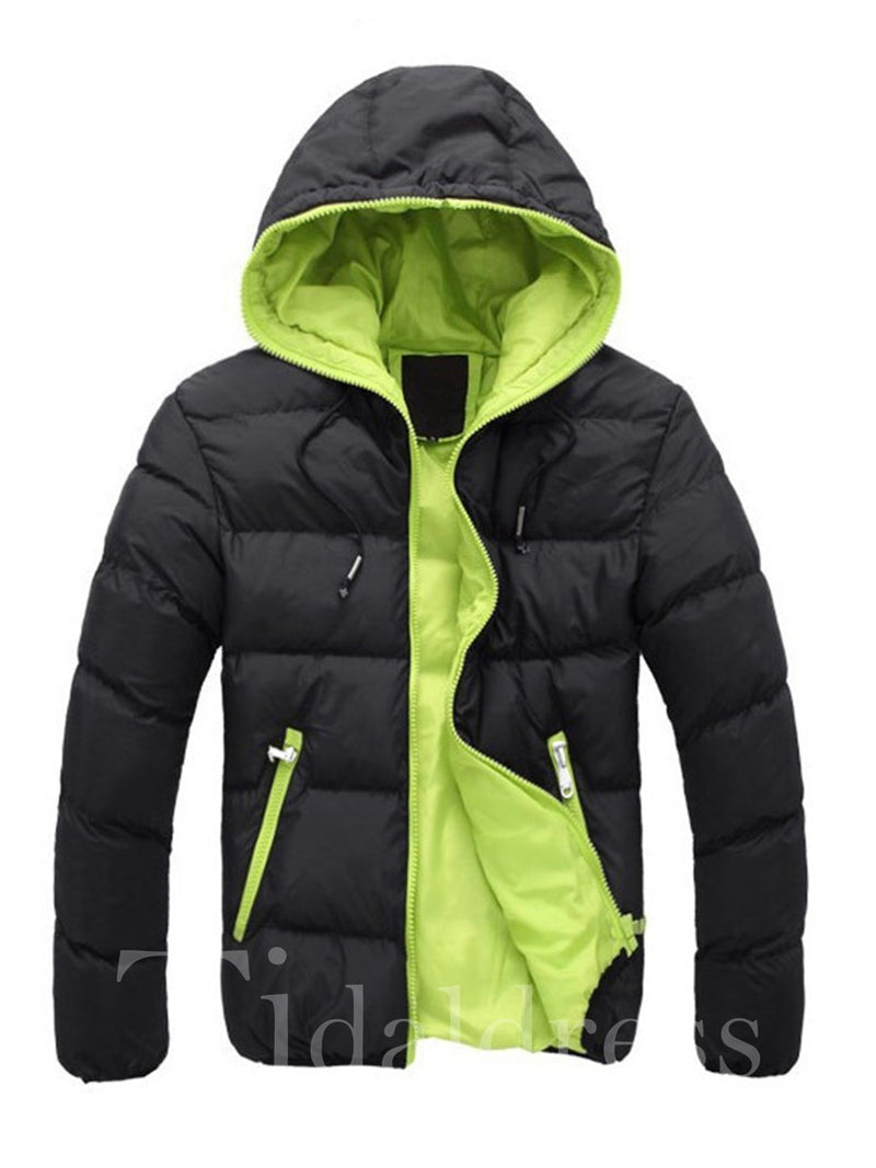 Plain Hooded Zipper Casual Slim Men's Winter Coat