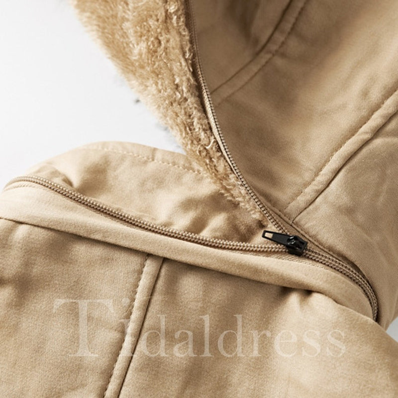Plain Thick Fur Hooded Mid-Length Mens Winter Jacket