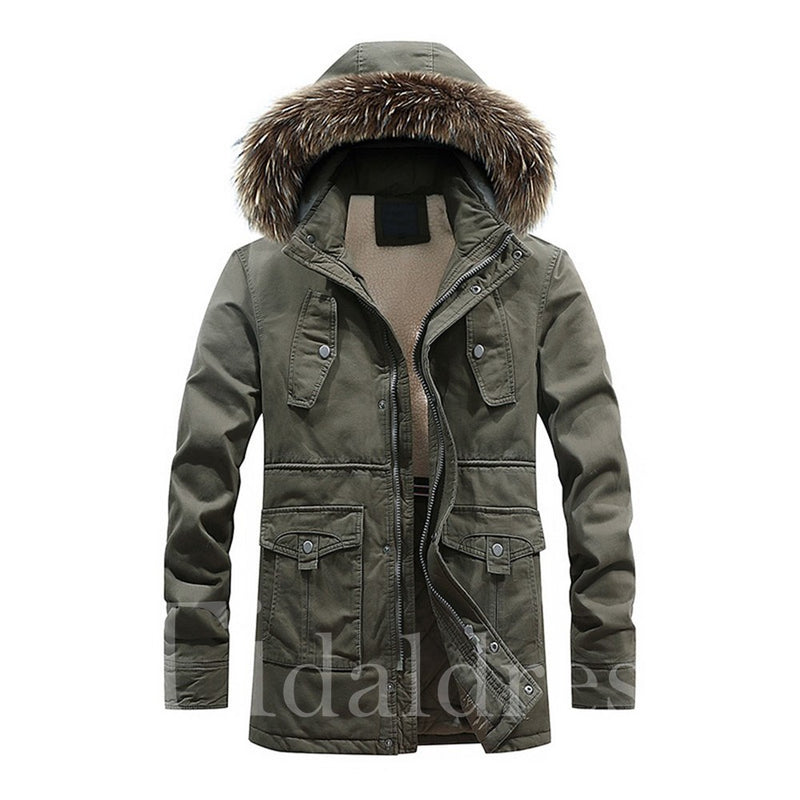 European Style Slim Stand Collar Plain Mid-Length Men's Jacket
