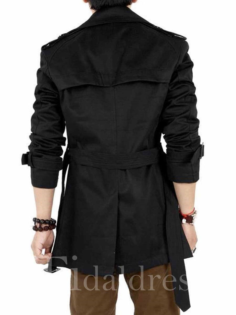 Solid Color Double-Breasted with Belt Slim Men's Trench Coat