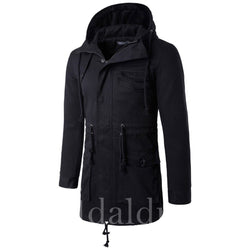 Hooded Mid Length Slim Solid Color Men's Trench Coat