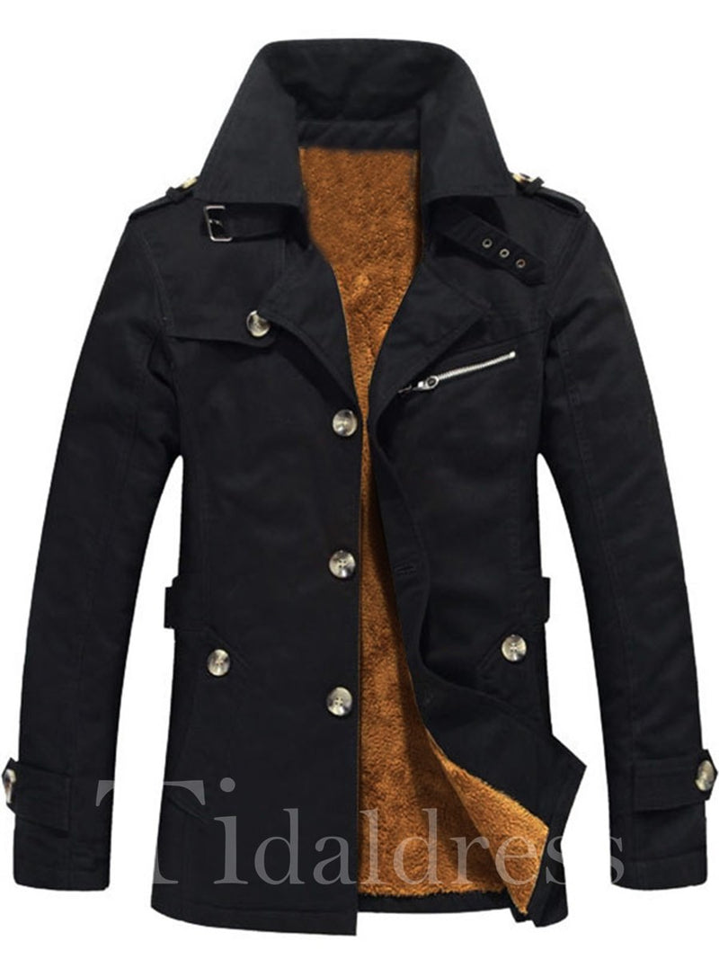 Slim Single-Breasted Mid-Length Men's Cotton Coat