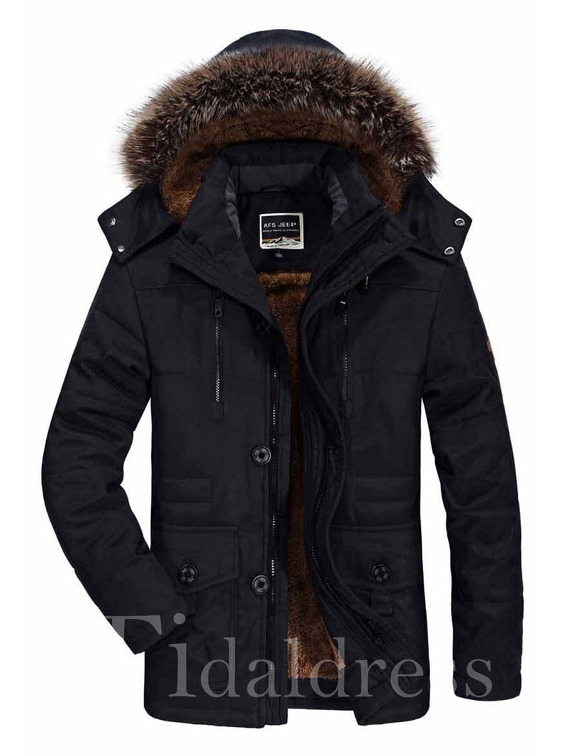Faux Fur Hooded Solid Color Thicken Warm Loose Men's Winter Jacket