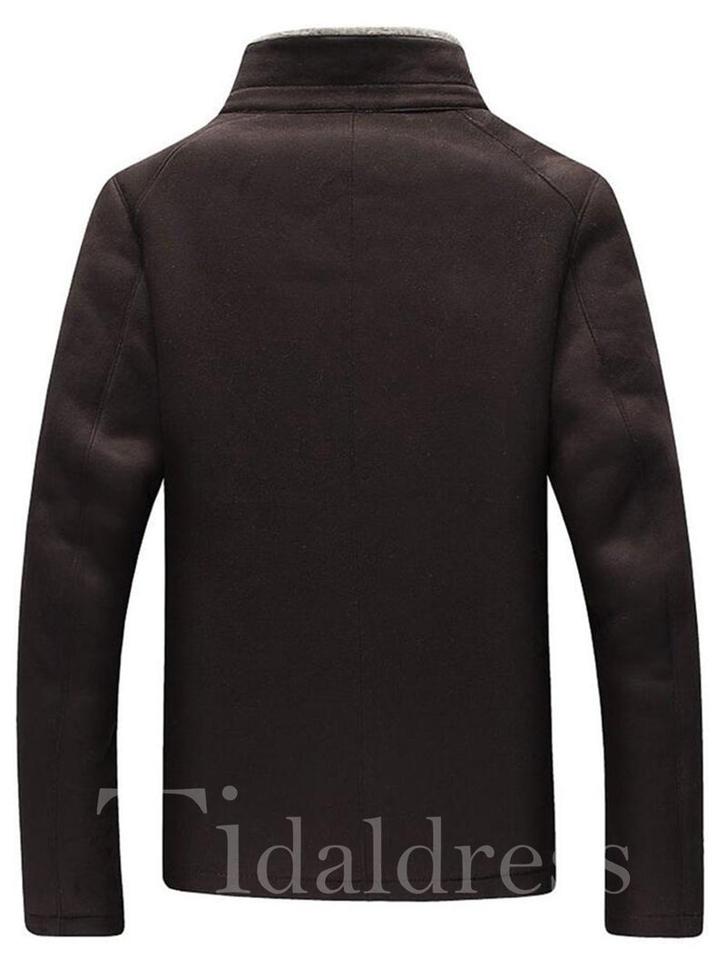 Stand Collar Thick Faux Fleece Zipper Men's Jacket