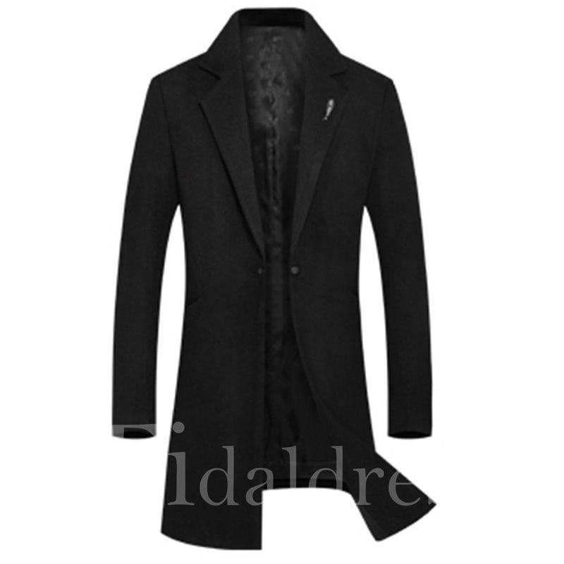 Plain Mid-Length Slim One Button Men's Wool Coats