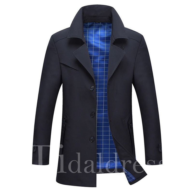 Plain Thick Lapel Slim Men's Casual Trench Coat