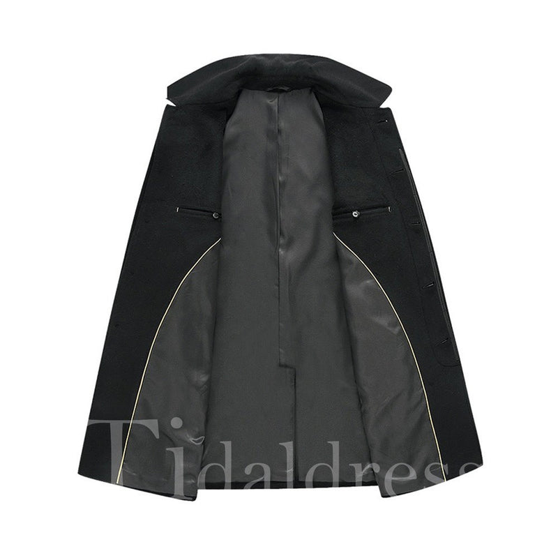 Solid Color Single-breasted Lapel Collar Mid-Length Men's Coats