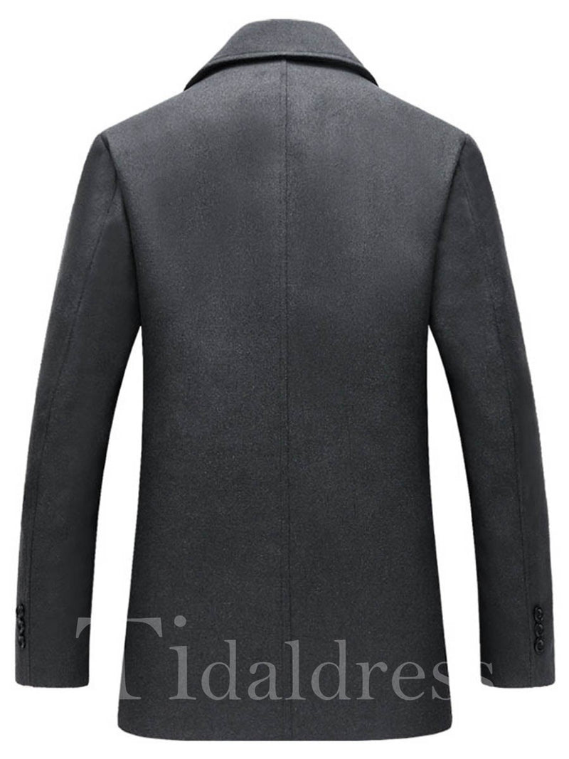 Notched Collar Double-Breasted Slim Men's Woolen Coat