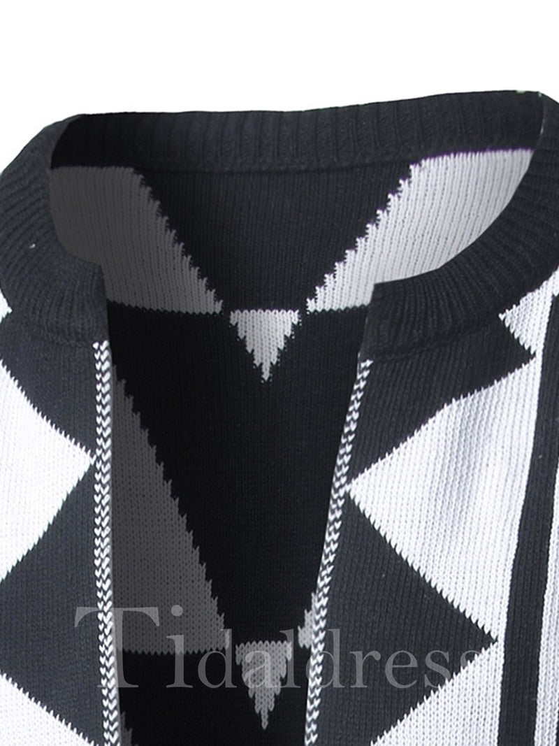 Round Neck Geometric Pattern Print Men's Cardigan Sweater