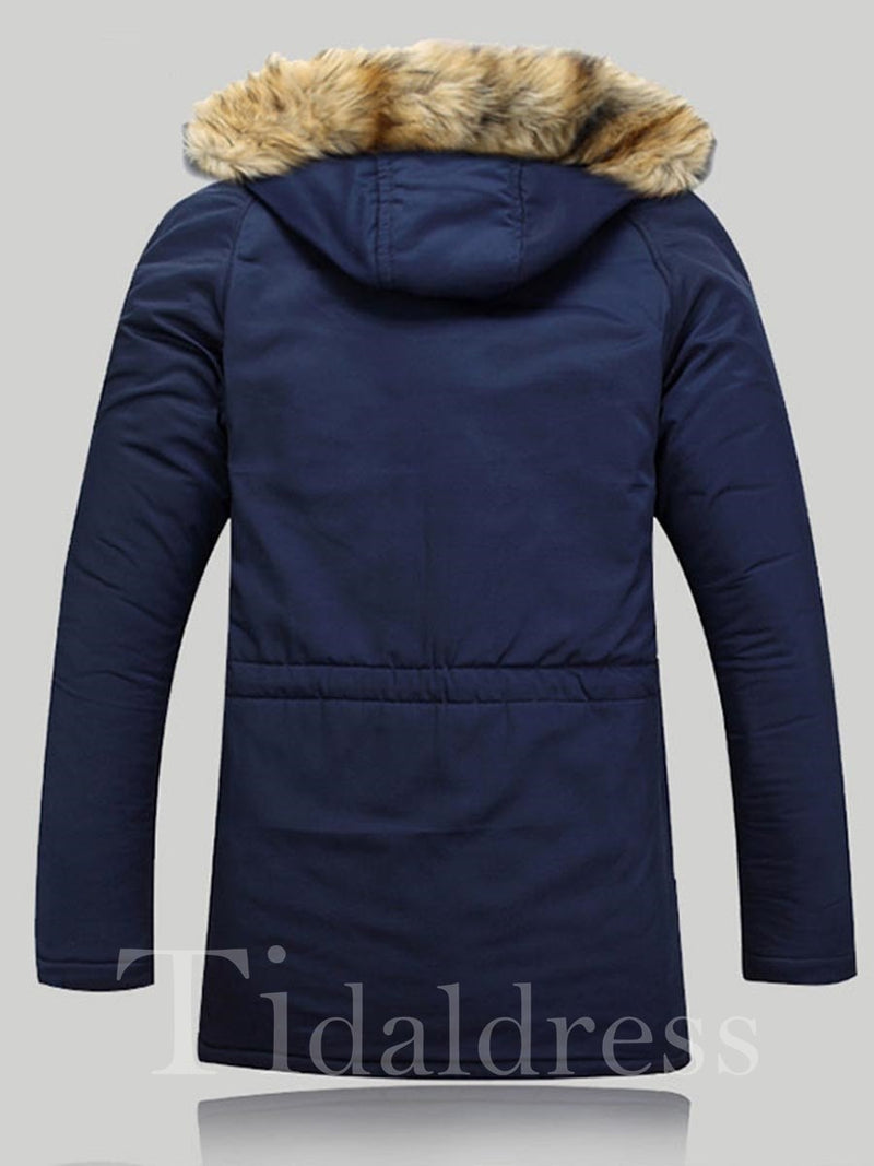 Zipper Hooded Mid-length Thick Cotton Men's Jacket
