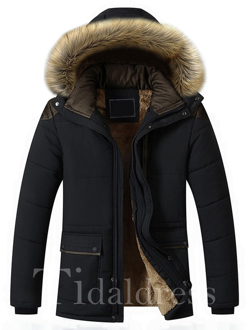 Mid-Length Fur Collar Thick Men's Down Jacket