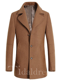 Mid-Length Notched Lapel Men's Casual Coat