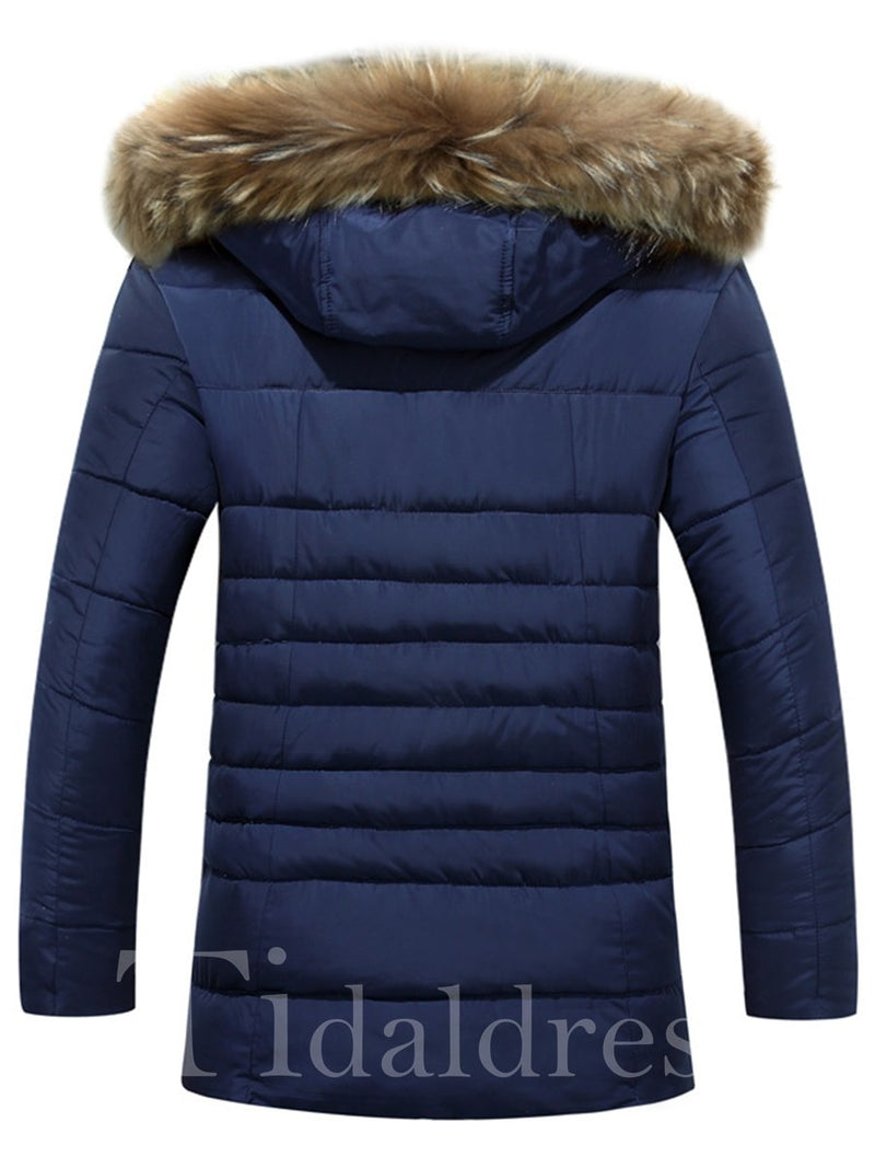 Zipper Pocket Plain Mid-Length Casual Men's Down Jacket
