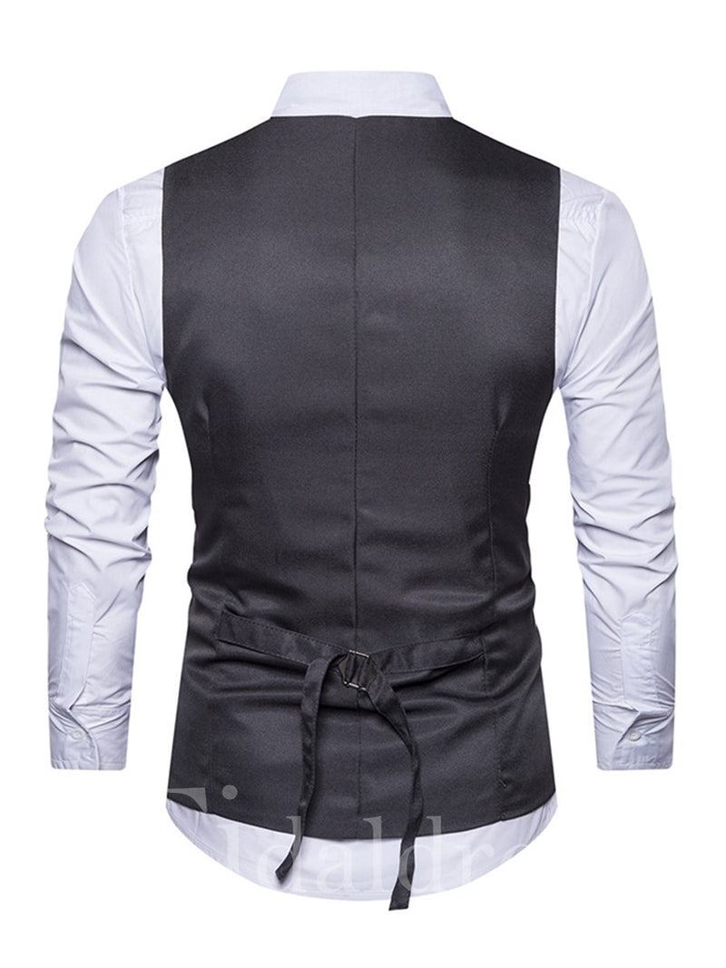 Vogue Color Block Single-Breasted V-Neck Slim Men's Vest