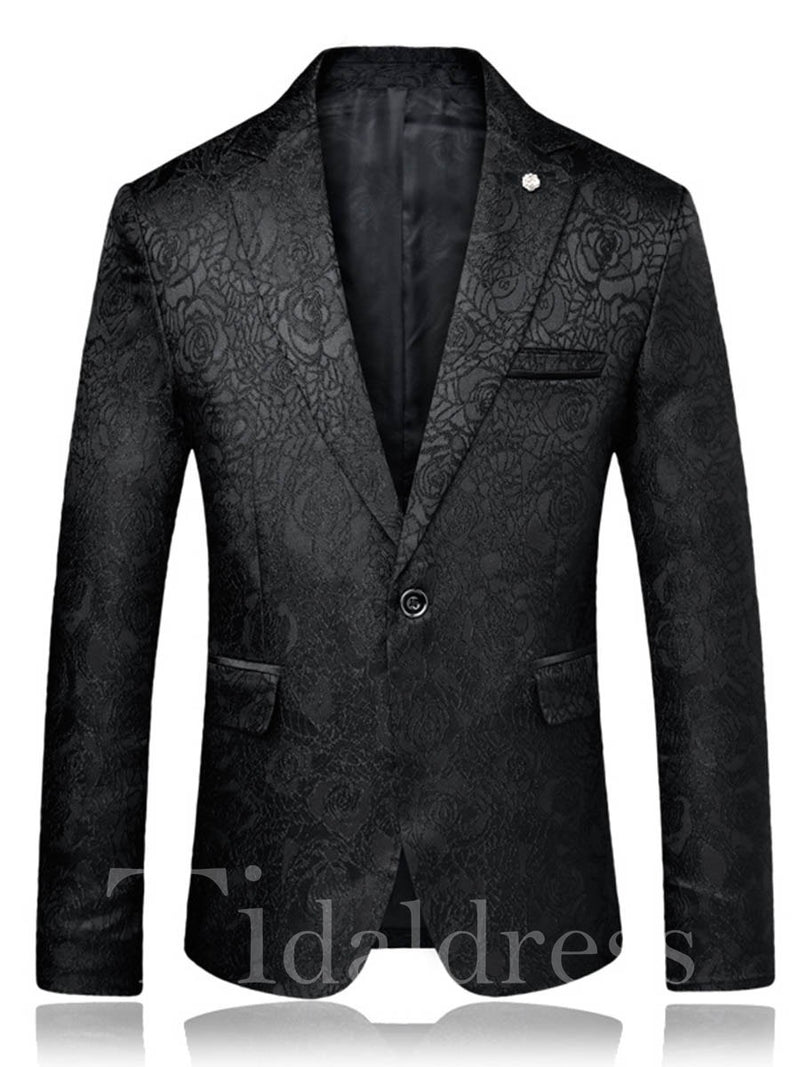 Plain One Button Notched Lapel Men's Blazer Jacket