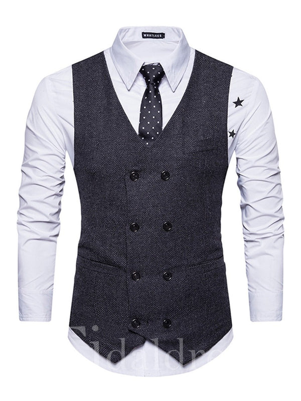 Vintage Plain Double-Breasted V-Neck Slim Men's Vest