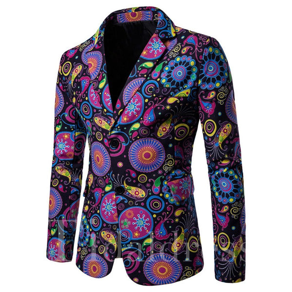 Geometric Color Block Print Mens Casual Blazer Jacket