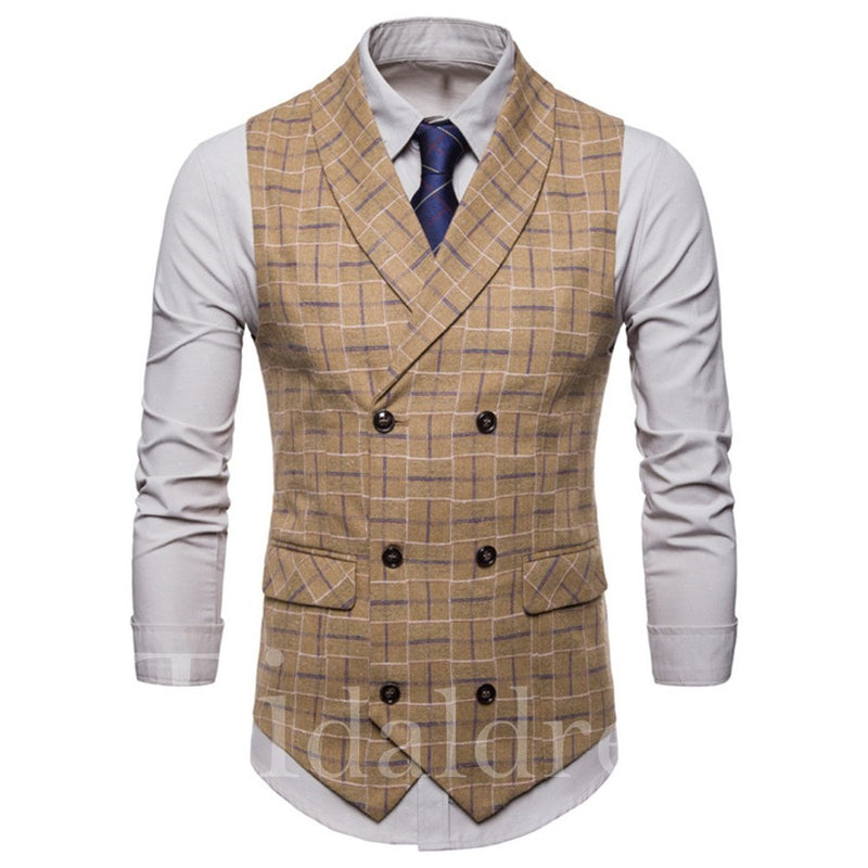Double Breasted Plaid Men's Vest