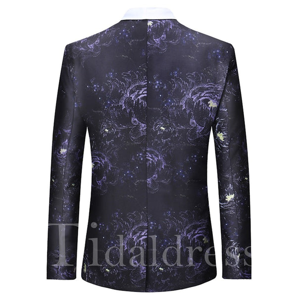 Print One Button Mens Lapel Casual Ball Blazer