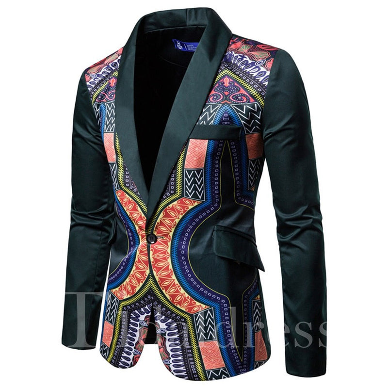 One Button Geometrical Printed Suit collar Men's leisure suit